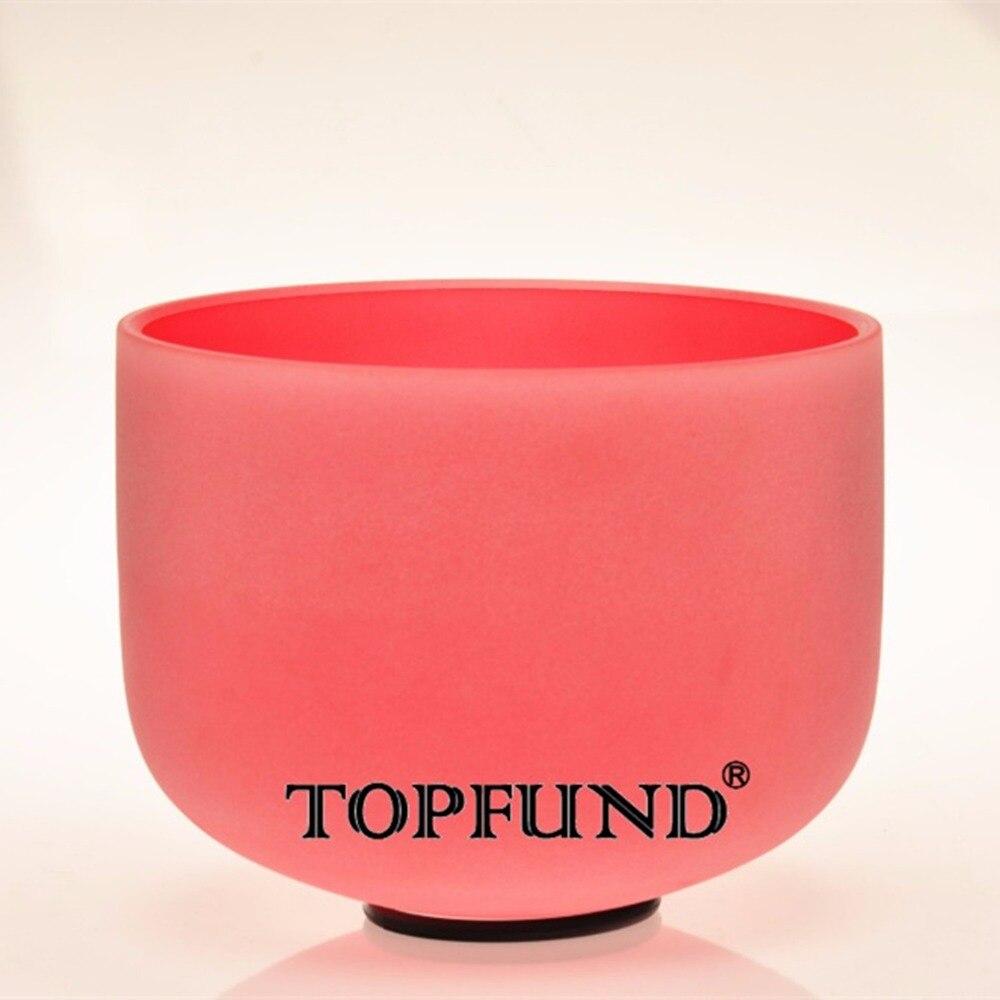 TOPFUND C # Примечание надпочечников чакра красный Цветной Матовый Кварцевый Поющая чаша 12 , уплотнительное кольцо и молоток, для медитации