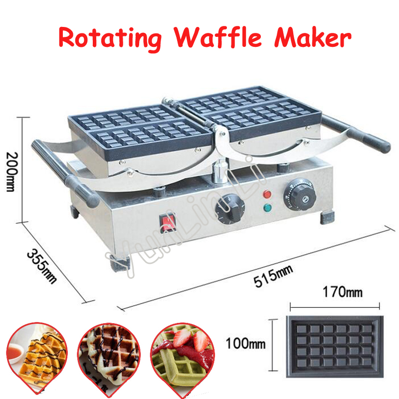Popular Rotating Waffle Maker Plaid Cake Machine Electric Flip Waffle Oven with Grilling Press Plates for Restaurant FY 2201