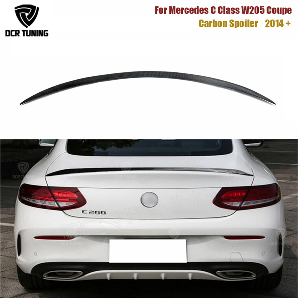 For Mercedes C Class W205 Spoiler Carbon Fiber Rear Trunk Spoiler wing C200 C250 C300 C180 C350 Coupe 2 Door Car 2014 - UP