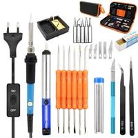 110V 220 Adjustable Temperature Electric Iron Soldering Set 60W EU US Plug Welding Kit Repair Tool in Tip Scorpion Carving Knife