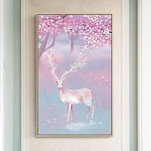 Youran DIY Diamond Mosaic Pink Elk Cherry Blossom Animal Scenery Painting Cross Stitch Vertical Bedroom Decoration Craft