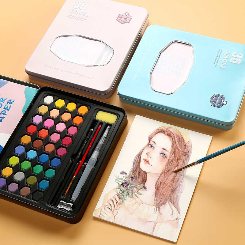 BGLN pintura de acuarela sólida polvo portátil azul caja de hierro principiante profesional pintado a mano suministros de arte para niños