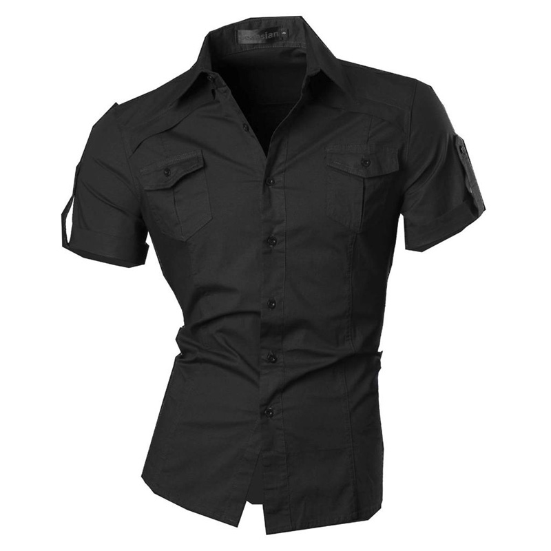 jeansian Men's Summer Short Sleeve Casual Dress Shirts Fashion Stylish 8360 1