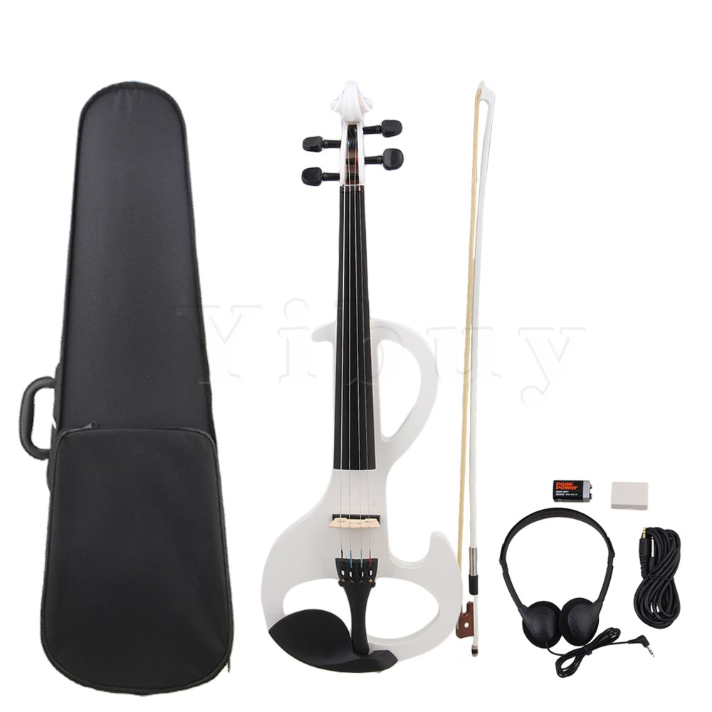 Yibuy Style A White Loaded Pickup 4/4 Electric Violin w/ Case Cable Headphone