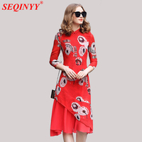 Elegant Cultivate Female Print Dress 2018 Spring Fashion Red Yellow 3/4 Sleeve Retro Mandarin Collar Flower Print Slim Mid Dress