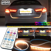 DIY Turn Signal Yellow Flow LED trunk Strip light With Wireless Remote Controller 12V White RED RGB Tail Tailgate DRL Lights