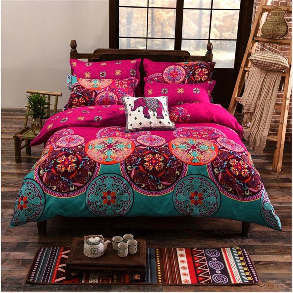Ensembles de literie doux Style bohême 3 pc ensembles double taille 100% Polyester asie du sud-est bohême motif éléphant roi taille housse de couette