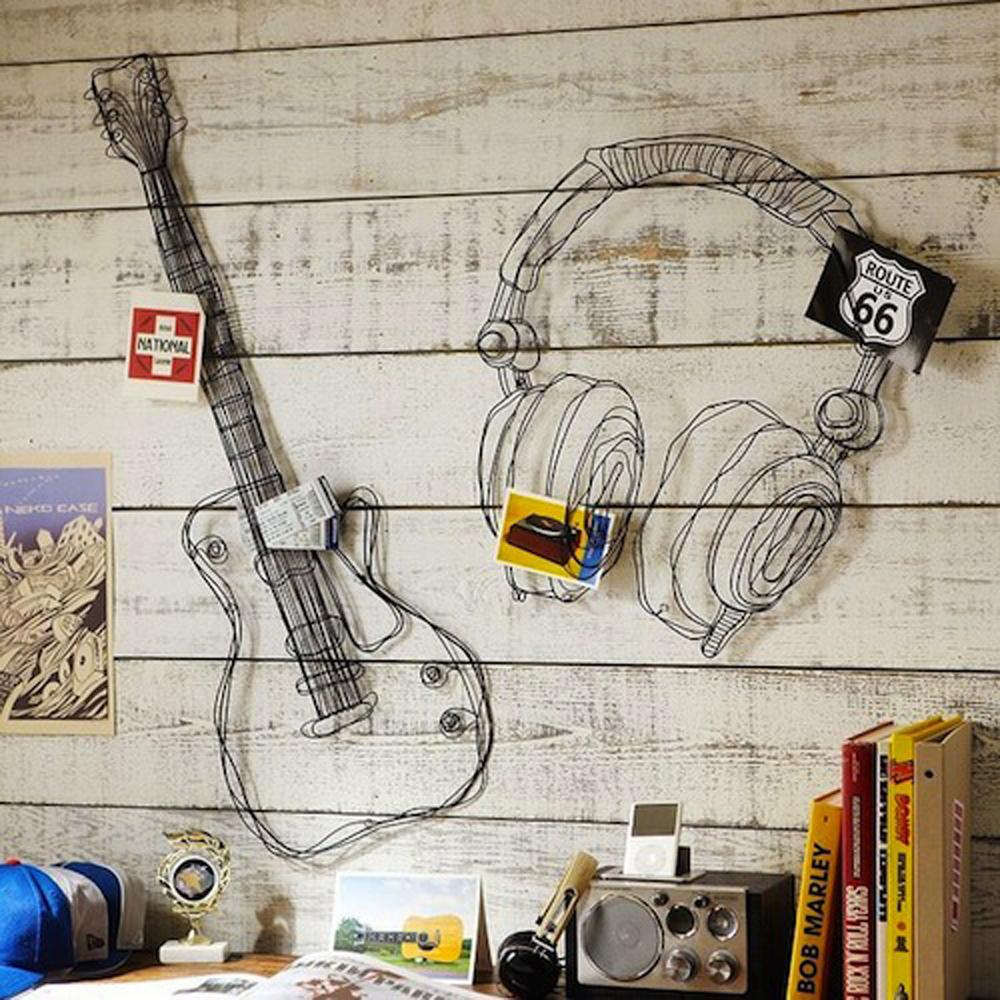 aliexpresscom buy metal wire guitar wall decor art music wall sculpture wire headset wall decor from reliable decoration art suppliers on qsjhome decor - Music Wall Decor