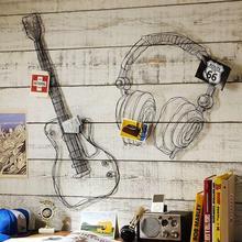 Металлическая проволока Гитара Настенный декор Искусство Музыка Стена Скульптура проволока гарнитура Настенный декор