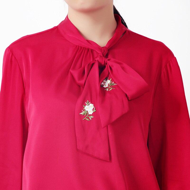 Trabajo Suelto Flare Negro Camisas Bordado Larga Las Primavera Seda De Dama Arco Blusa Verano rojo Manga 2019 Mujeres Jersey Nuevas Recto Oficina La 1IEWRqwW