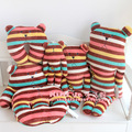 CRAFTHOLIC chocolate Striped colorful bear L size 80cm plush doll pillow cushion cute love free shipping