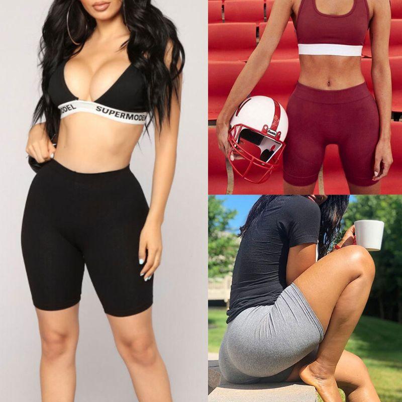 2018 Women Sport Fitness   Leggings   Half High Waist Quick Dry Skinny Bike Short   Leggings   Women Elastic Casual   Leggings