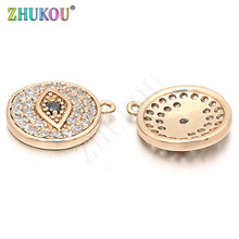 12mm Handmade Brass Cubic Zirconia Evil Eyes Charms Pendants DIY Jewelry Findings, Hole: 0.5mm, Model: VD39(China)