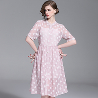 Shetelisi Stripes Chiffon Dress Casual Holiday Street Illusion Dresses with Spots Pattern Sweet Style Girl Clothes st19004