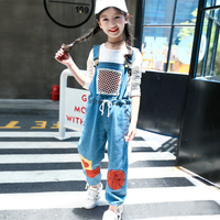 Autumn Kids Girls 3 12T Jeans Overalls Pattern Basketball Baby Denim Pocket Jumpsuit Bib Pants Children