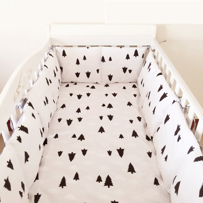 6PCS Tree Crib Bedding Set Cot Set Baby Bumpers Cot Sheets Cotton Lovely Print (bumpers+sheet+pillow Cover)
