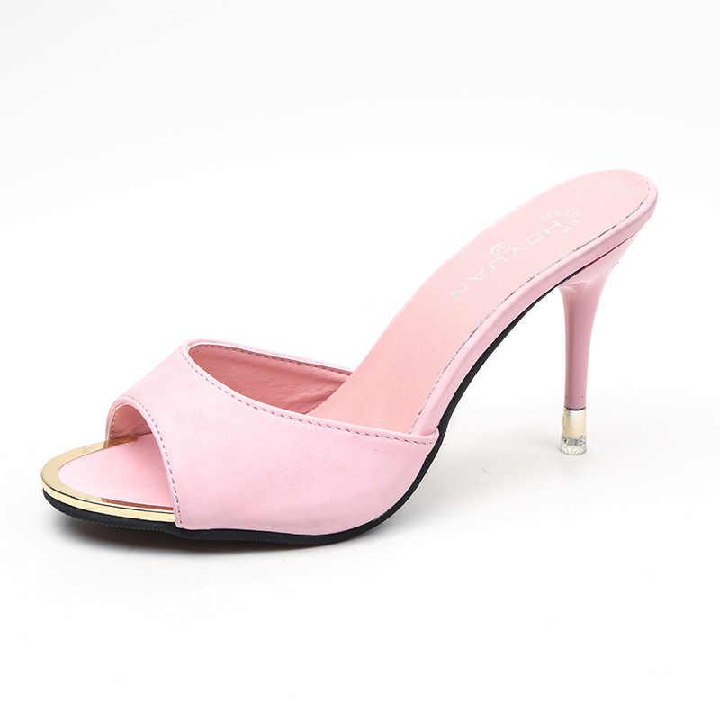 Marca Rosa Verde Moda Feminina Chinelos de Couro Sandálias de Dedo Aberto Verão Sapatos Mulas Das Mulheres Senhoras de Salto Alto Desliza Sapatos