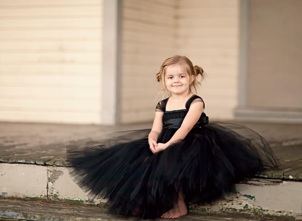 Little Girls Black Long Tutu Dress Kids Fluffy Tulle Wedding Evening Dresses Ball Gown with Satin Bow Waist Children Party Tutus  new hot sequins baby girls dress party gown tulle tutu bow heart shape dresses bridesmaid evening cute children dress