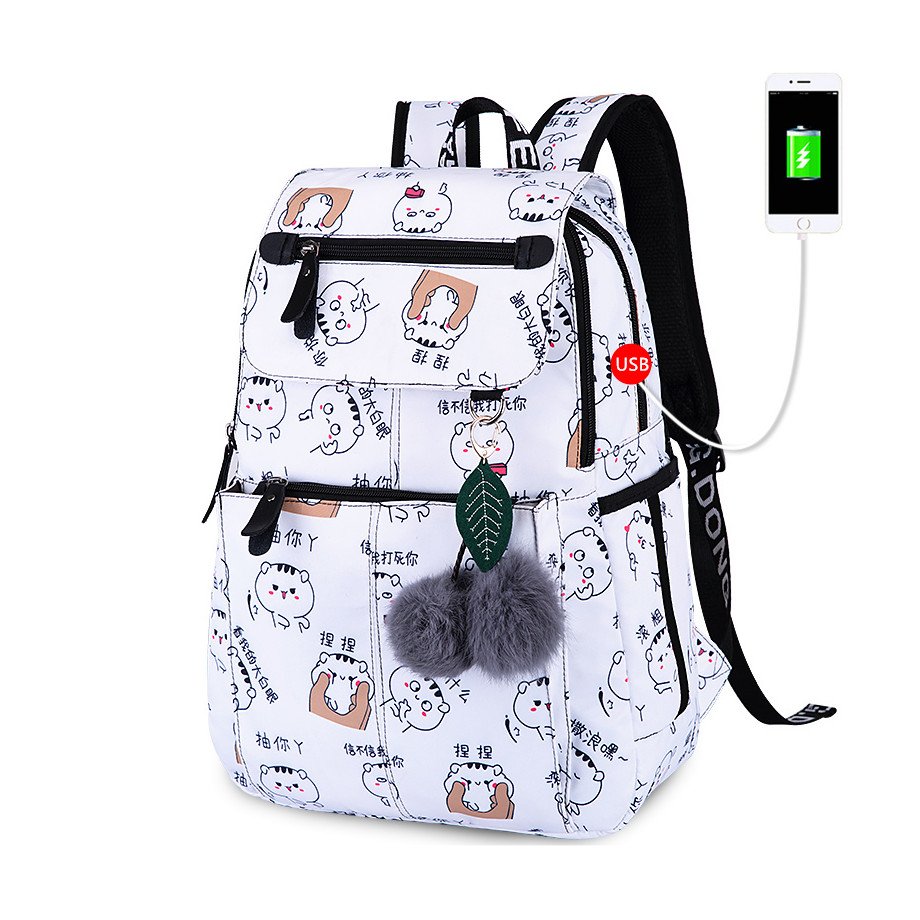 OKKID school bags for girls female laptop backpack usb backbag children backpacks cute cat school backpack for girls bag pack(China)