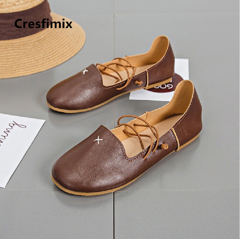 Cresfimix femmes appartements women cute dark brown string tie flat shoes lady sweet casual white soft & comfortable shoes c2057 cresfimix femmes appartements women fashion comfortable mesh breathable flat shoes lady cute beige bow tie shoes zapatos b2859