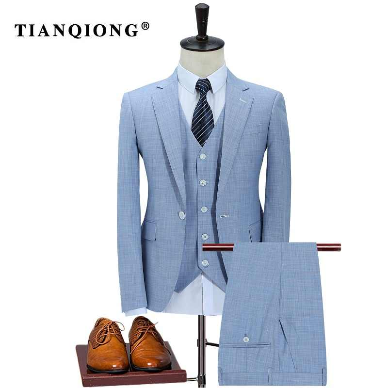 TIAN QIONG 100% Polyester Sky Blue Suit Men Slim Fit Leisure Business Wedding Dress Suits for Men Terno Masculino Tuxedo 3 Pcs
