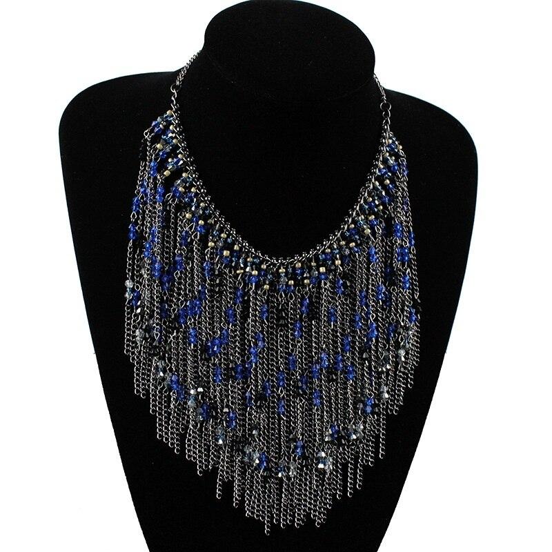 Fashion Cercle Rouge Perle Pendentif Déclaration Collier longue chaîne Pull bijoux