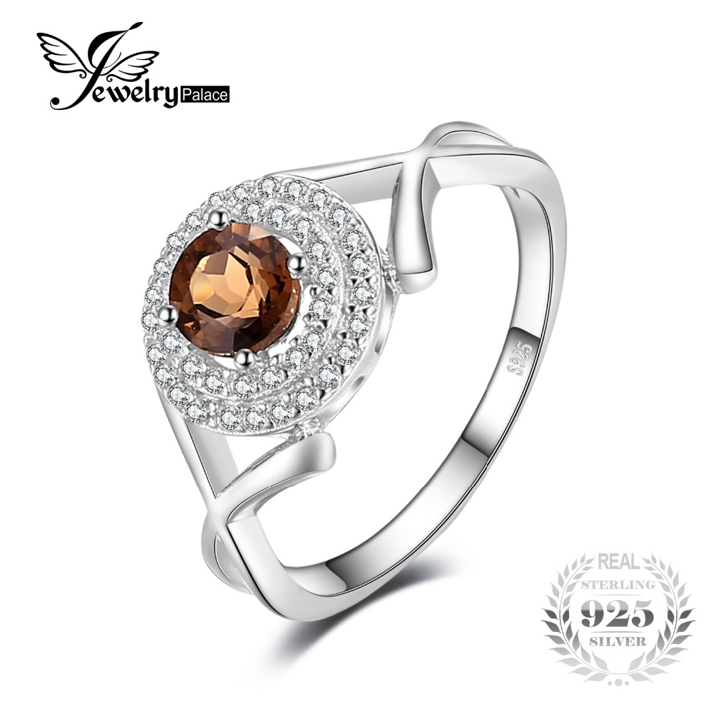 JewelryPalace Fashion X marks 0 65ct Round Natural Smoky Quartz Anniversary Ring For Women Genuine 925
