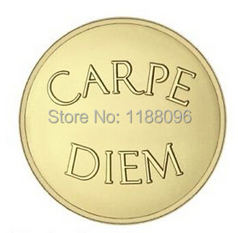 Low price custom High quality NEW Stainless Steel Coin Carpe Diem & Live Life Pendant Coin cheap custom gold carved coins