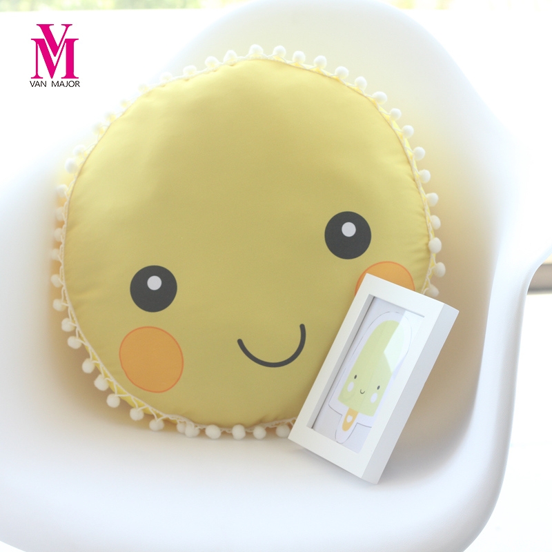 Vanmajor 42cm Lovely Sun Flower Plush Pillows Stuffed Soft Plant Cushion Kawaii Smiley Face font b
