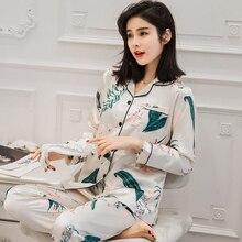 Summer Women Imitation Silk Pajamas Set Ladies Print Long Sleeves Shirt+Pants Suit Nightwear Sleepwear Home Clothes Pijamas khaki pajamas suit with imitation silk material