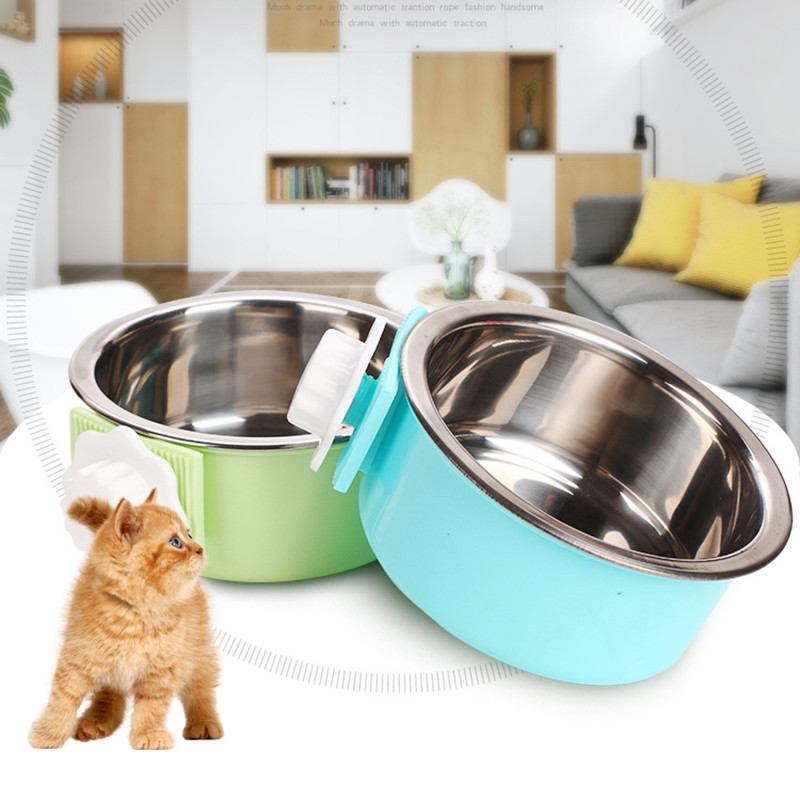 New Pet Dog Cat Bowl Can Hang Stationary Dog Cage Bowl Stainless Steel Hanging Bowl Two-layer Detachable Stationary Dog Bowl