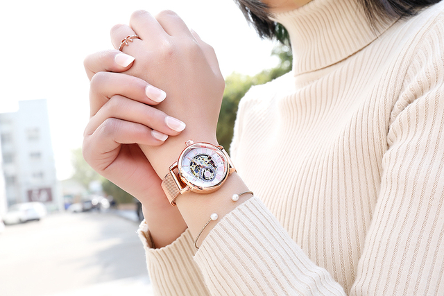 Rose Gold mechanical Lady Watch relojes mujer