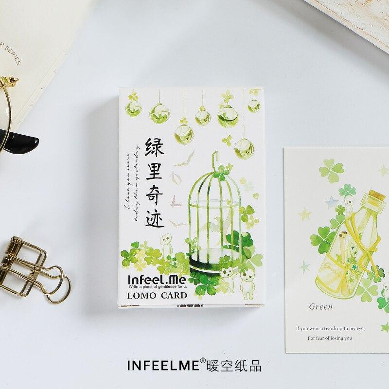 Green 28Pcs \ LOMO Card DIY Cute Creative Fun Greeting Card Blank Message Card Mini Postcard Student Stationery Office Supplies
