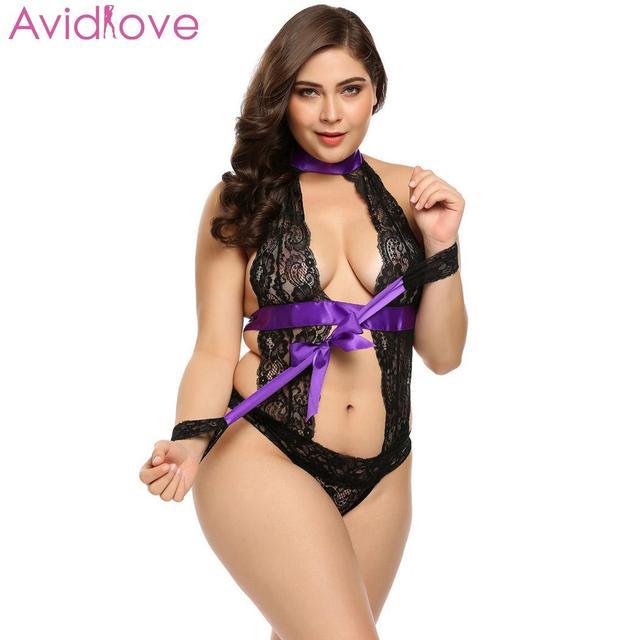 Avidlove Women Bodystocking Plus Size Sexy Costumes Erotic Bodysuit Teddy Cuffs Halter Lace Lingerie 2