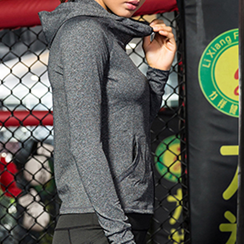Image 4 - Female Running Zipper Jacket Coat Women Sports Yoga Training Hooded Workout Fitness Breathable Tops Long Sleeve Gym Sweatshirts-in Running Jackets from Sports & Entertainment on AliExpress