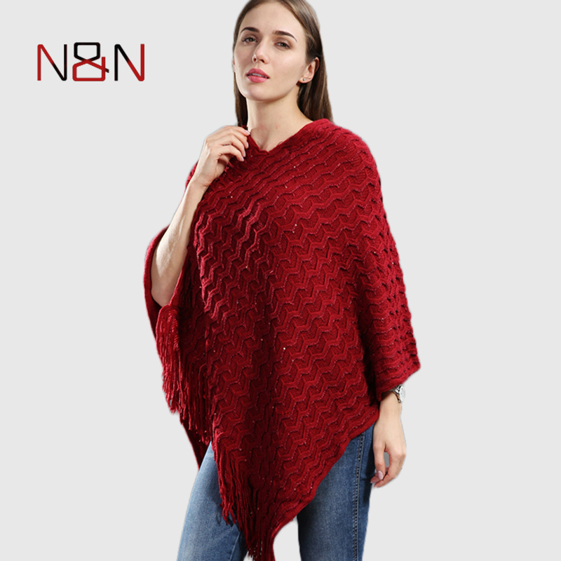 Knitted Pullover Women Poncho Plus Size Batwing Solid Striped Sequins Scarf Winter Thick Tassel Sweater Sleeve Poncho And Capes