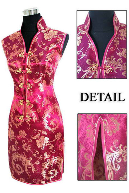 High Fashion Burgundy Women's Silk Evening Dress Chinese Classic Mini Cheongsam Qipao Totem&Flower Size S M L XL XXL XXXL S028-G