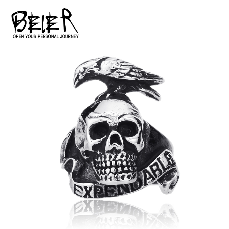 Punk Style Expendable Ring For Men 316l Stainless Steel Bird On