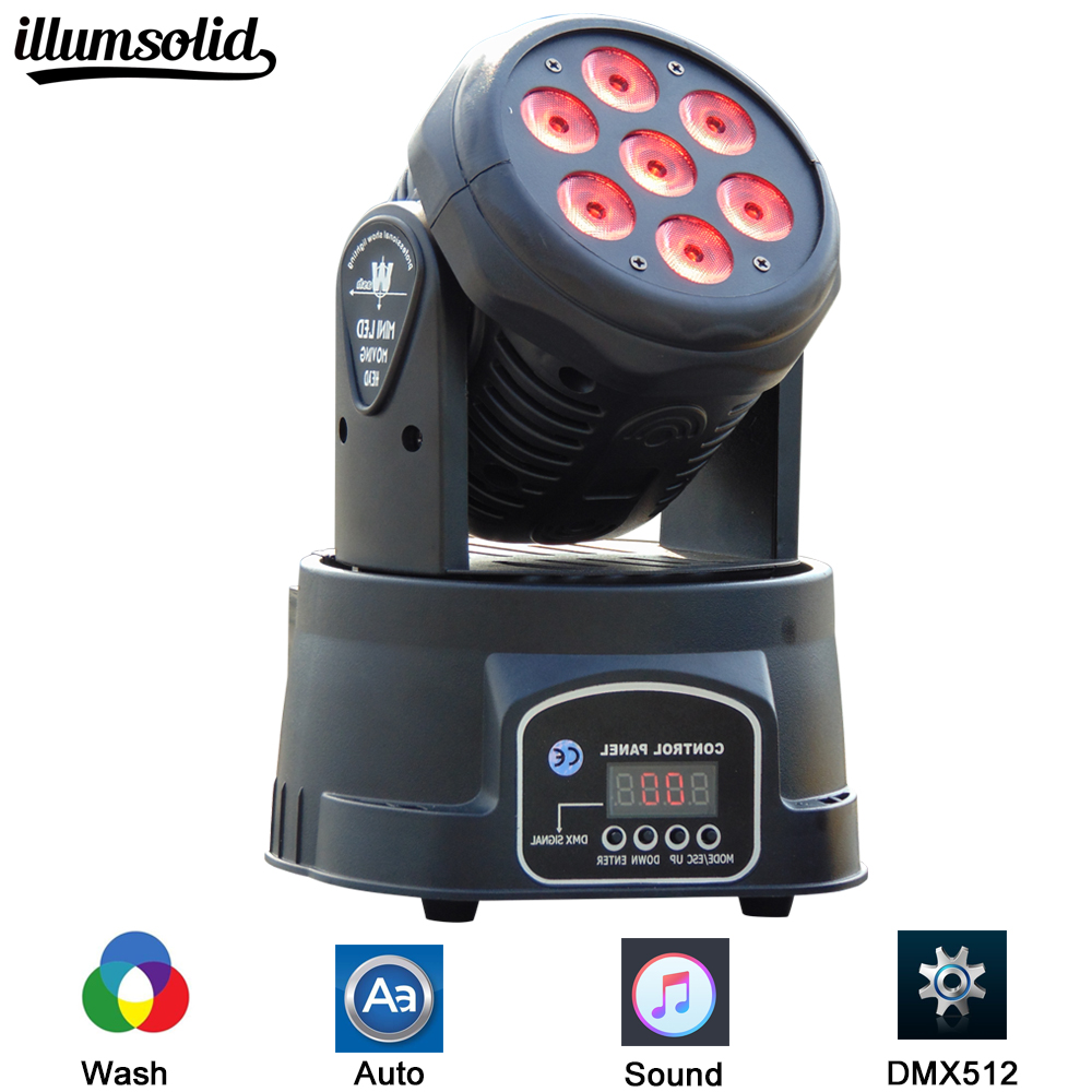 Led Moving Head Wash 7x12w Mini Music Sound Stage Party lumiere Laser Dj Dmx Light