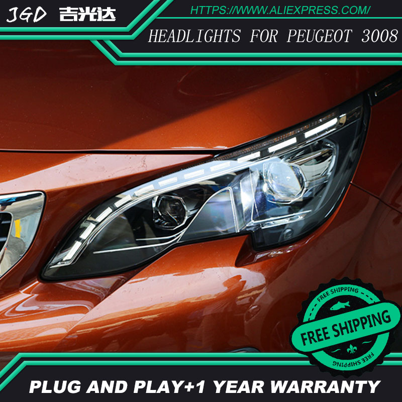 Car Styling Head Lamp case for Peugeot 3008 Headlights 2017 LED Headlight DRL H7 D2H Hid Option Angel Eye Bi Xenon car styling head lamp case for hyundai creta ix25 headlight 2015 2016 sentra led headlight drl h7 d2h hid option bi xenon beam
