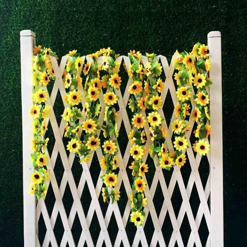Diy Wedding Arch With Sunflowers: Artificial Yellow Sunflower Garland Silk Wedding Flowers
