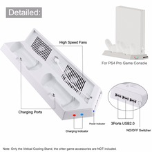3000 DC5V RPN függőleges állvány kettős vezérlők töltő dokkoló állomás hűtőventillátor könnyű USB Hub a PS4 Pro-hez