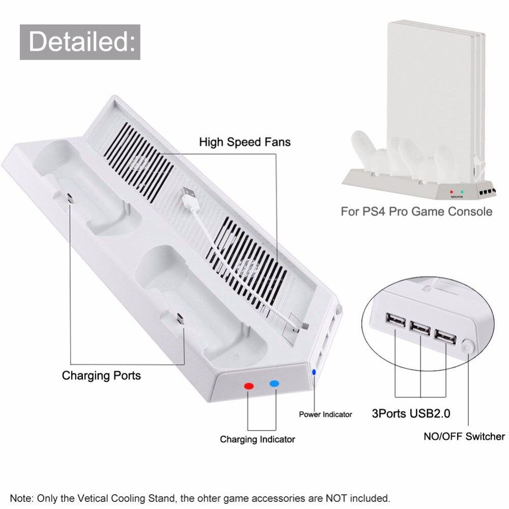 3000 DC5V RPN soporte Vertical Dual controladores estación del muelle del ventilador con luz USB Hub para PS4 Pro
