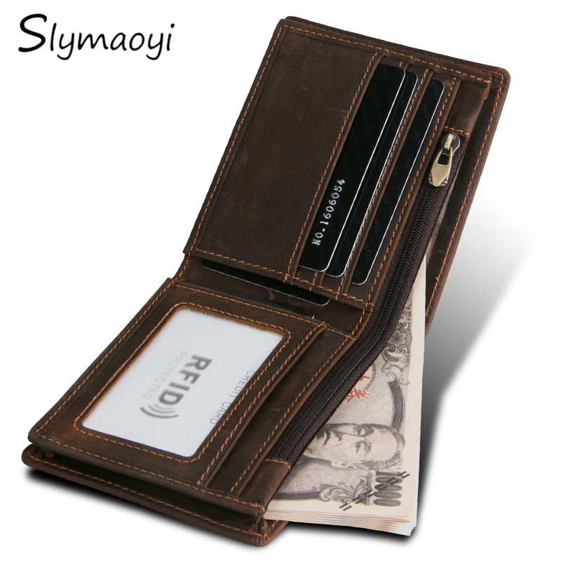 Slymaoyi Vintage Crazy Horse Handmade Leather Men Wallets Multi-Functional Cowhide Coin Purse Genuine Leather Wallet For Men gathersun the secret life of walter mitty retro wallet handmade custom vintage genuine wallet crazy horse leather men s purse