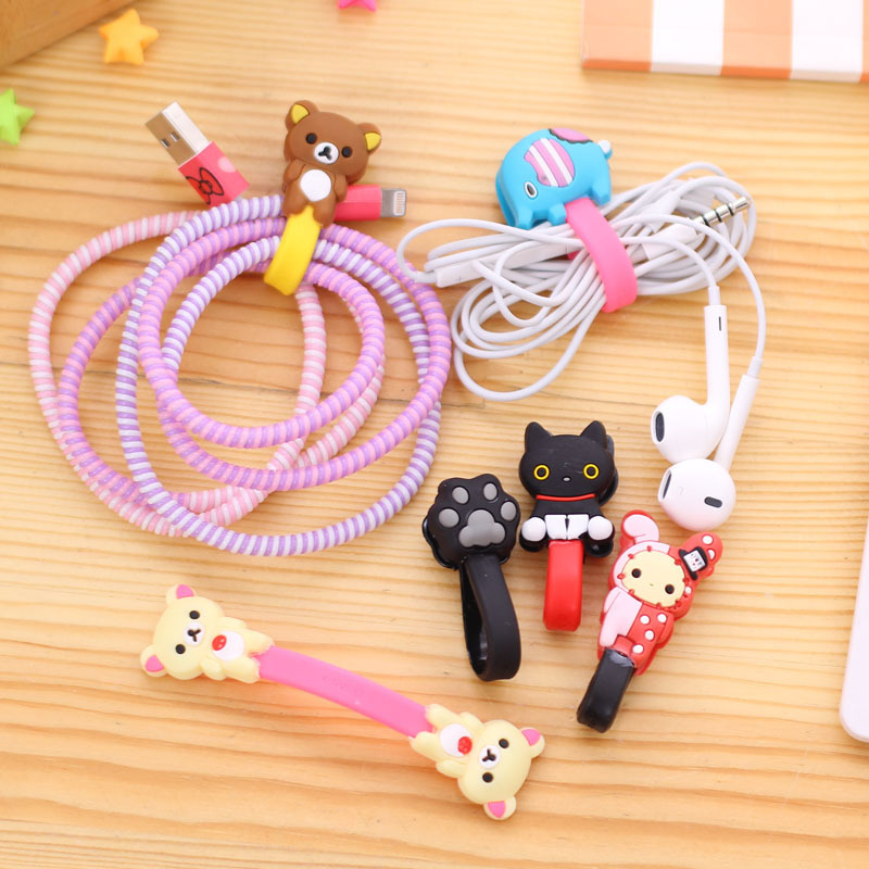 50pcs/lot Lovely Elephant Bear Cartoon Cable Winder Headphone Earphone Cable Wire Organizer Cord Holder For iphone samsung