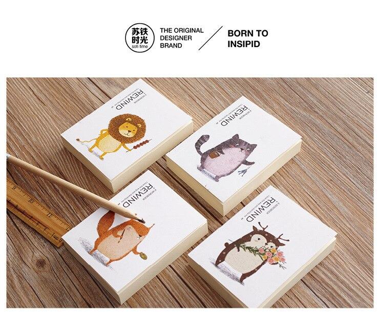 [4Y4A] 4 шт. время путевые заметки Справочник карман блокнот Портативный миниатюрный животный принт Лев котенок