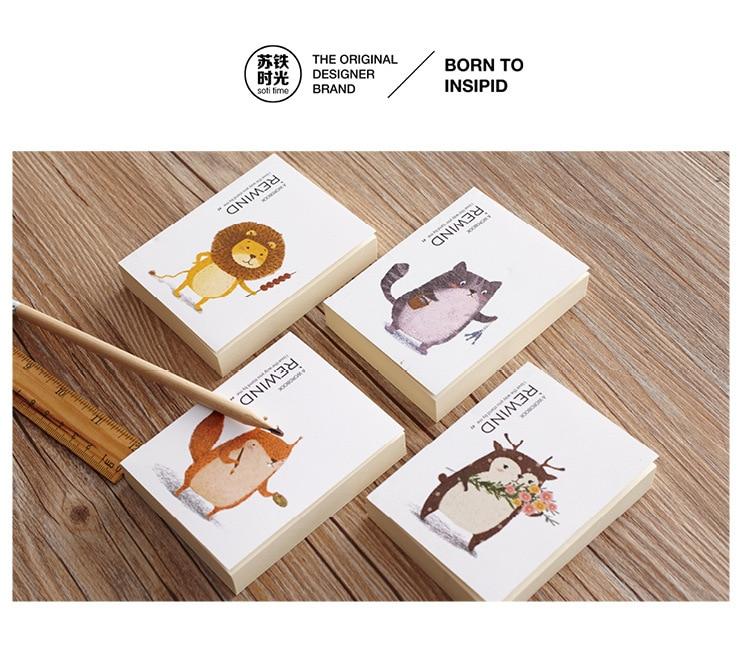 [4Y4A] 4pcs Time Travel Notes Handbook Pocket Pocket Notepad Portable Miniature Animal Pattern Lion Kitten