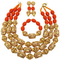 Fashion Orange Artificial Coral Jewelry Set African Wedding Beads Nigerian Necklace Bridal Jewelry Sets FSH 015