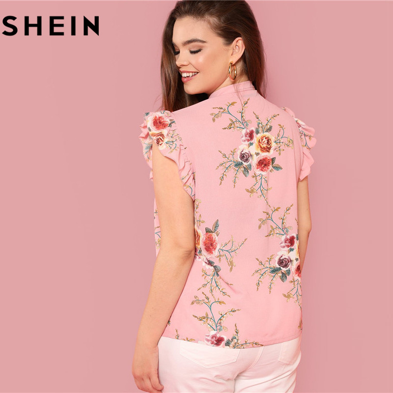 SHEIN Floral Print Pink Ruffle Sleeve Tie Neck Plus Size Elegant Women Blouses Summer Fashion Office Lady Sleeveless Top Blouse  2
