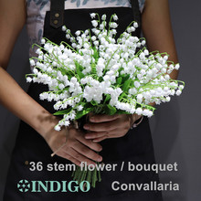 INDIGO-White Convallaria Bouquet Plastic Flower Bride Wedding Event Table Centerpiece Free Shipping